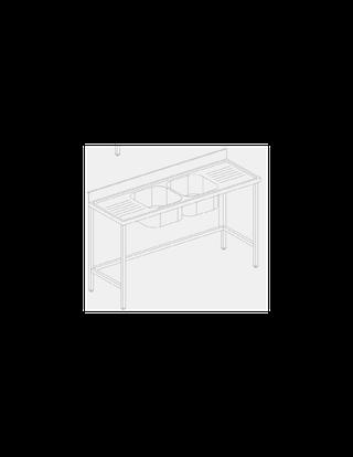 Fregadero industrial barra 2 pozas en medio escurr