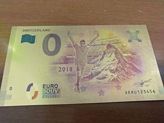 billete souvenir 0 euros Suiza mundial 2018