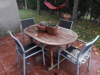 mesa de jardin exterior extensible con 4 sillas