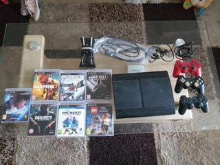 PS3 slim con 3 mandos y 7 juegos