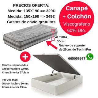 Canapé abatible + Colchón Viscografeno OFERTÓN