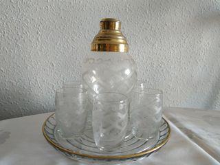 Juego coctelera antigua de cristal tallado
