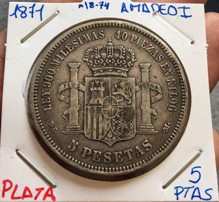 Moneda PLATA 5 Pesetas 1871 *(18-74) AMADEO I