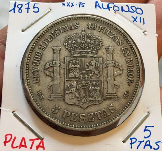 Moneda PLATA 5 Pesetas 1875 *(xx-75) ALFONSO XII