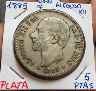 Moneda PLATA 5 Pesetas 1885 *(18-87) ALFONSO XII