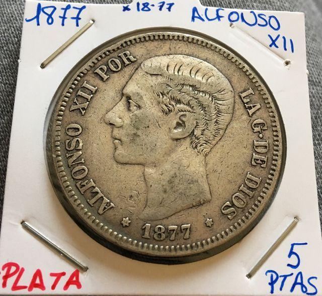 Moneda PLATA 5 Pesetas 1877 *(18-77) ALFONSO XII