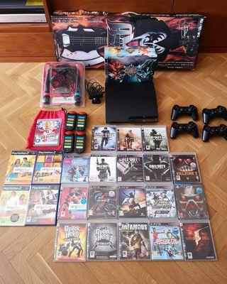 PS3 SLIM 160GB, mandos, micros, guitarra, juegos..