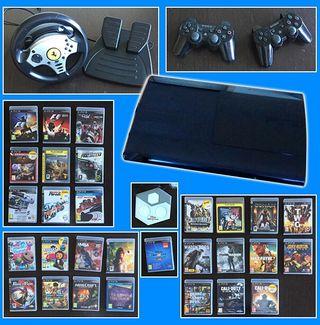 Lote Consola PS3 con mandos, 29 juegos y volante