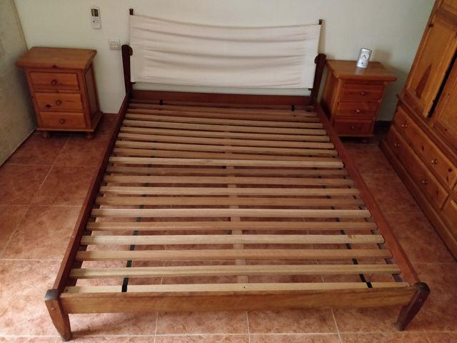 cama king size 210 x210 cm de madera maciza