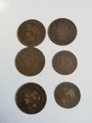 4 moneda 10centimos Francia desde 1970 y 5 centimo