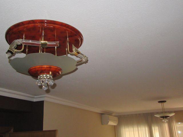 Lampara de techo grande bolas cristal color raiz