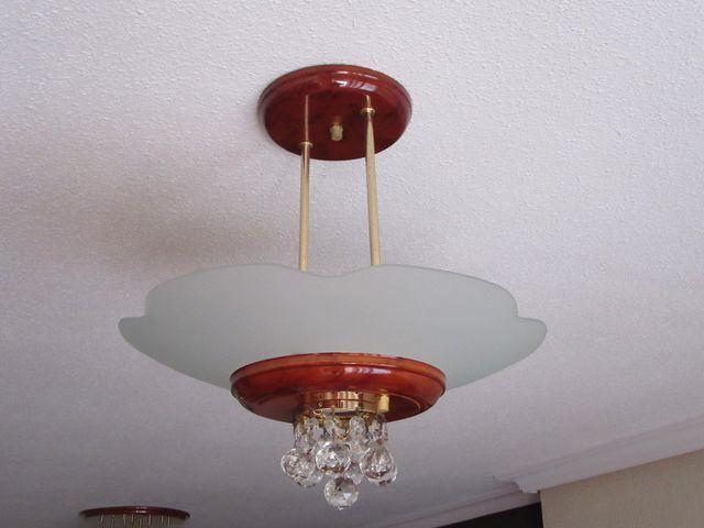 Lampara de techo bolas cristal color raiz mediana