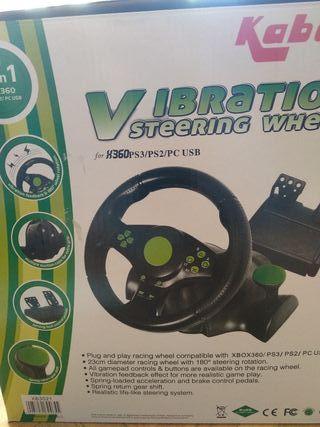 volante con pedales y palanca X360, PC,PS3,PS2