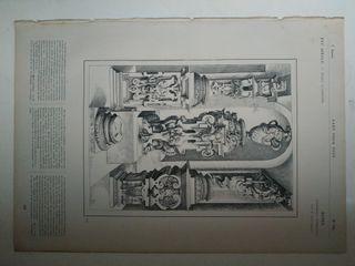 Grabado antiguo.Pedestal objetos arte 1864