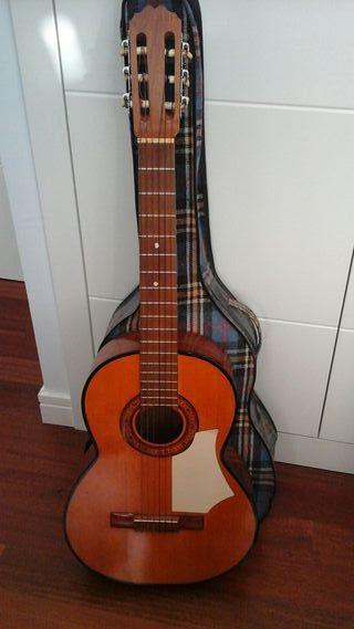 Guitarra española con funda
