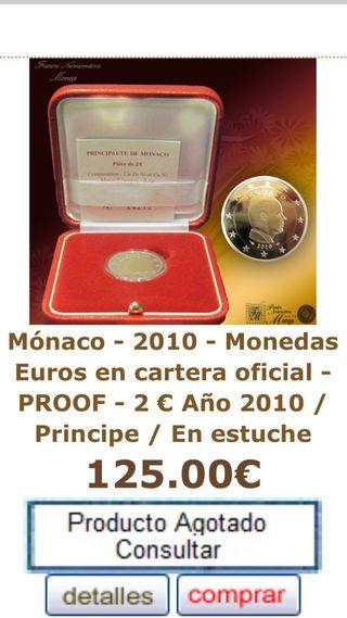 Moneda 2€ Proof Mónaco 2010