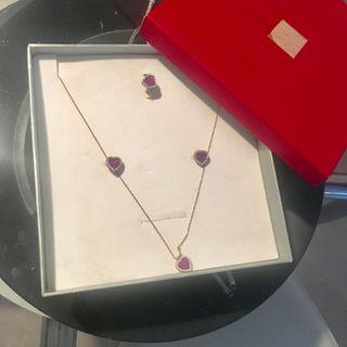 Conjunto joyas. Bañadas en oro rosa y circonitas