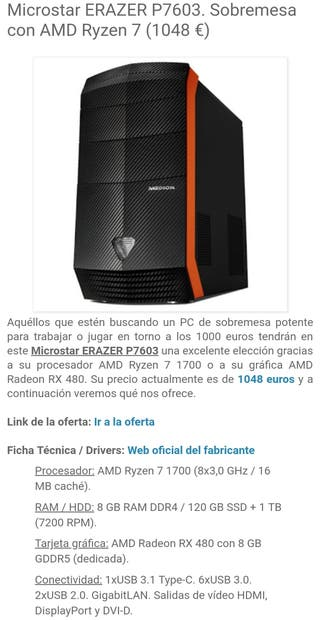 PC Sobremesa Gaming Erazer P7603