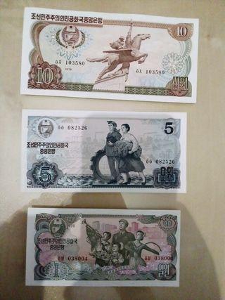 3 billetes de Corea