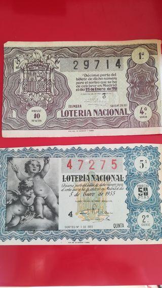 Boletos de loteria 1951 o 1955