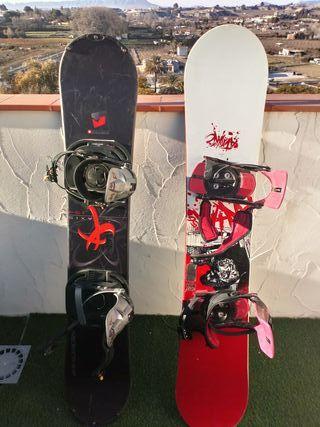 tablas de snowboard con fijaciones,