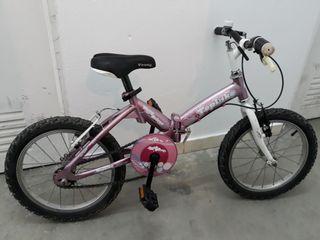 Bicicleta Rosa 16 pulg plegable + Regalo Patinete
