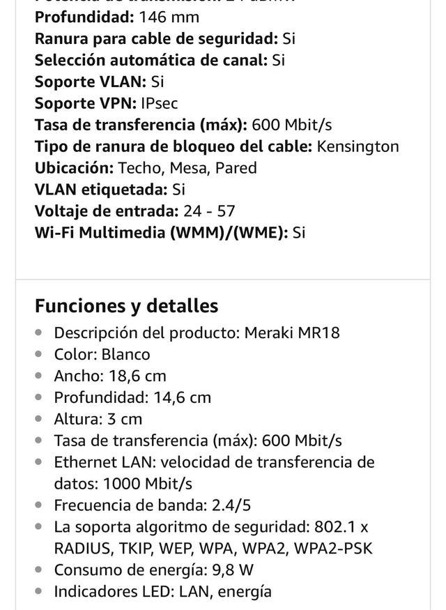 Punto de acceso Cisco Meraki MR18 de segunda mano por 70