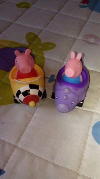 Peppa Pig y George coches