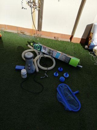 bomba de piscina y accesorios