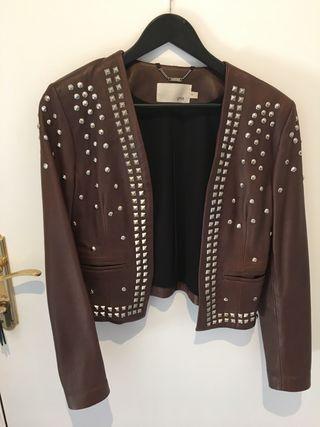 mejor más cerca de materiales de alta calidad chaqueta piel