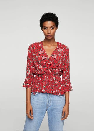 Blusa floral roja XS-S
