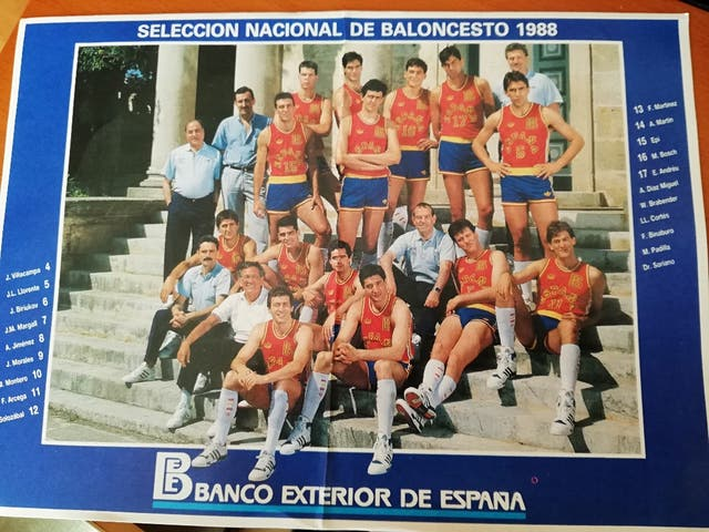 Pegatina selección baloncesto España 1988