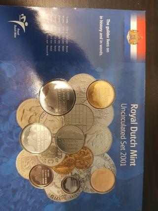 Holanda netherland coin set last gulden 2001 5,10,