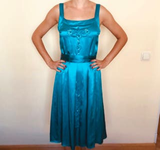 Vestido fiesta seda nuevo con etiqueta