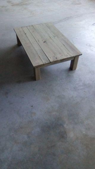 Mesa centro madera pino envejecido