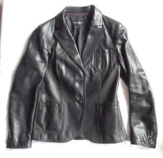 massimo dutti. chaqueta piel negra