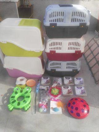 Juguetes/accesorios, transportín y arenero de gato