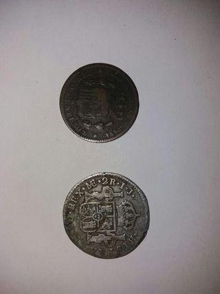 moneda de 2 reales de plata pura y 5 centimos
