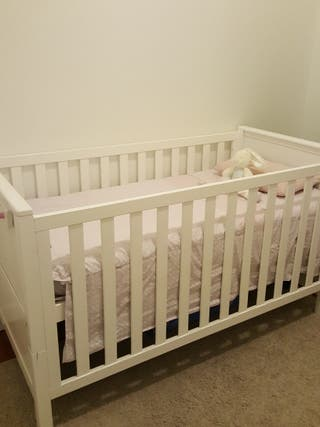 Cuna cama nenelandia blanca + colchon