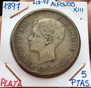 Moneda PLATA 5 Pesetas 1897 *(18-97) Alfonso XIII