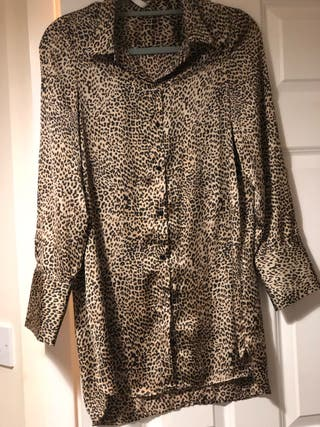 Animal print blouse from Zara.