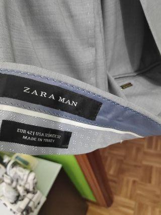 Traje Gris Zara Tailored Fit 2 Botones