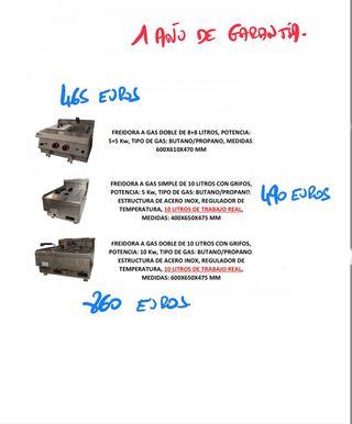 FREIDORA GAS DE 8+8, 10 y 10+10 litros en acero