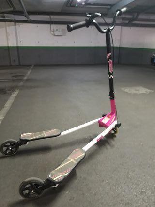 patinete doble de 3 ruedas rosa