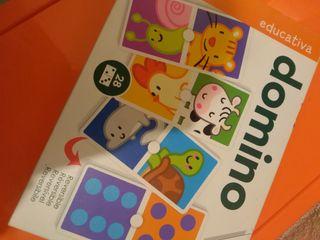 juego dominó reversible niños animales y números