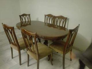 Juego mesa de comedor + 6 bonitas sillas conjunto