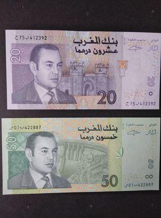 Billetes de Marruecos dirhams. SC