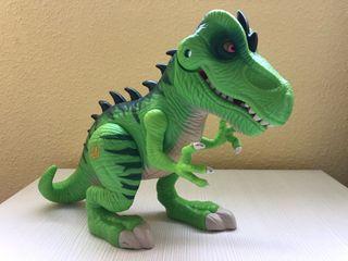 Dinosaurio verde mediano con luces y sonido