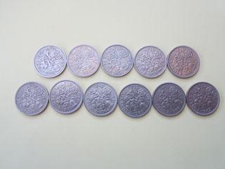 Monedas inglesas 6 Pence