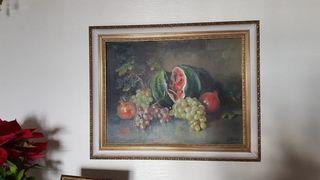 Cuadro bodegón frutas.